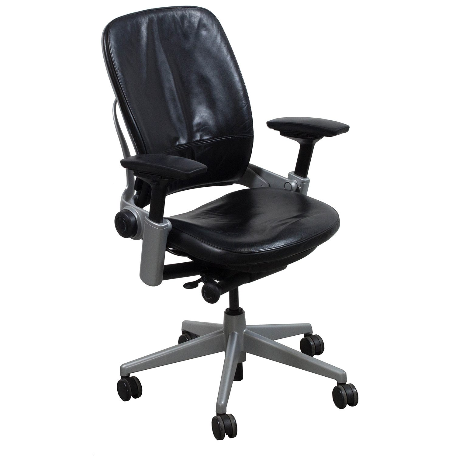 steelcase leap chair anti gravity leather v2 used task black