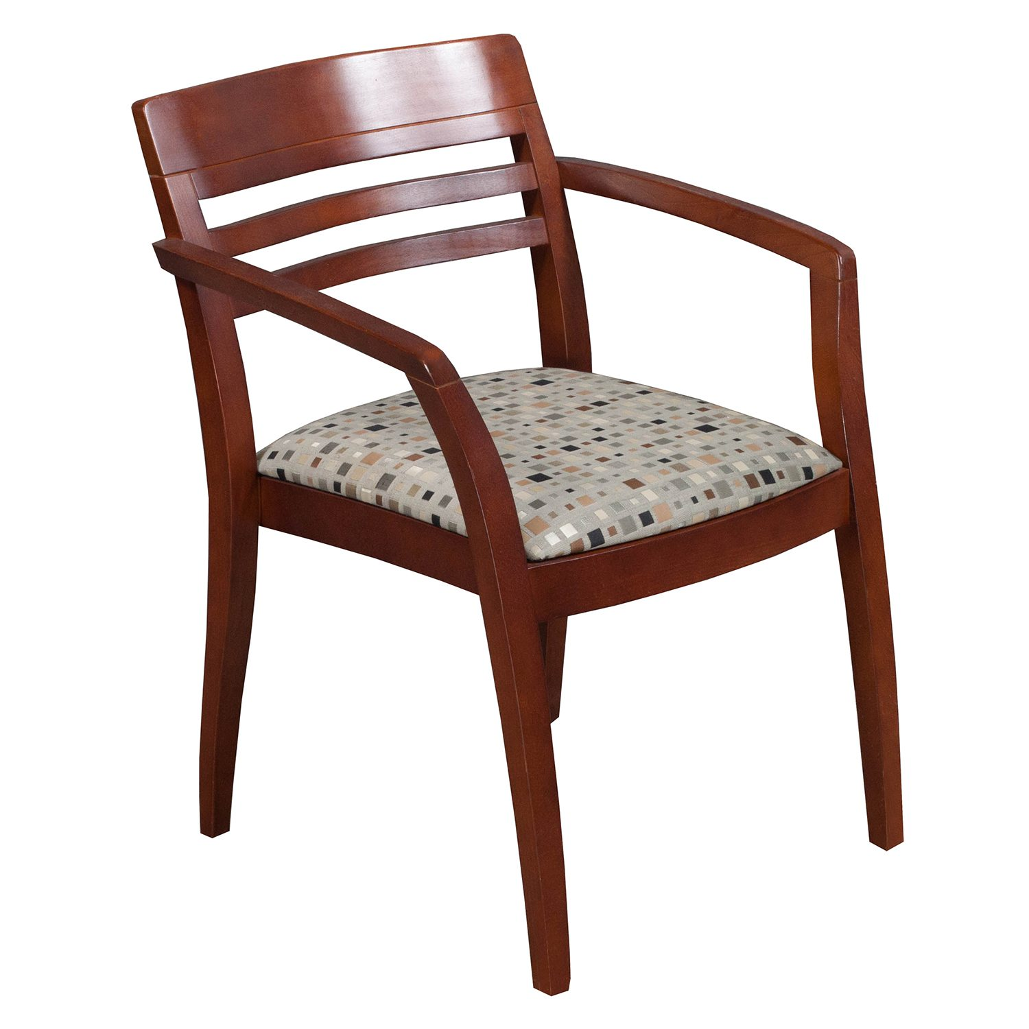 Pattern Chair Icf Used Wood Side Chair Earth Tone Geometric Pattern