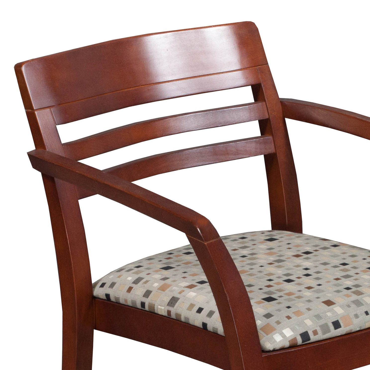 ICF Used Wood Side Chair Earth Tone Geometric Pattern