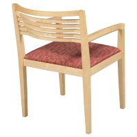Knoll Ricchio Used Maple Wood Side Chair, Red Pattern ...