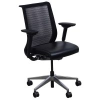 Steelcase Think Used Leather and Mesh Task Chair, Black