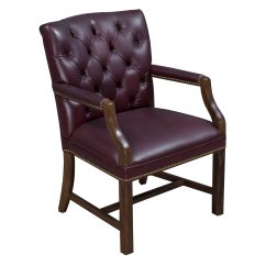 Leather Side Chair White Chairs For Wedding Ceremony Traditional Walnut Tufted Burgundy