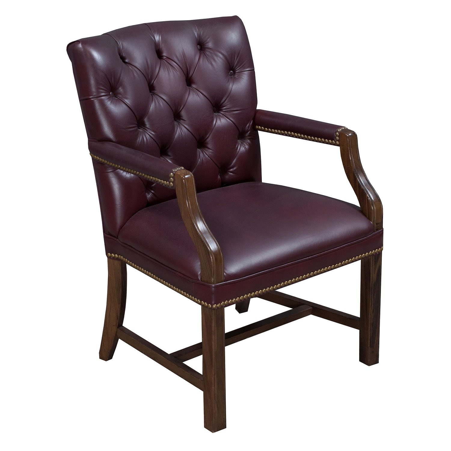 Leather Side Chair Traditional Walnut Tufted Leather Side Chair Burgundy