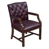 Traditional Walnut Tufted Leather Side Chair, Burgundy