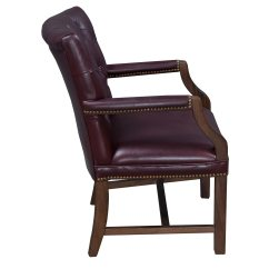 Leather Side Chair Beach Chairs With Umbrella Attached Traditional Walnut Tufted Burgundy