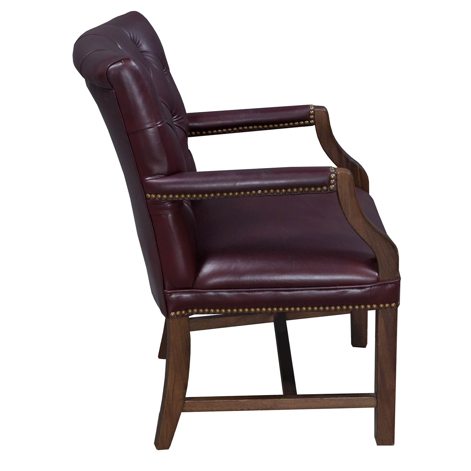 tufted side chair rowe keller traditional walnut leather burgundy