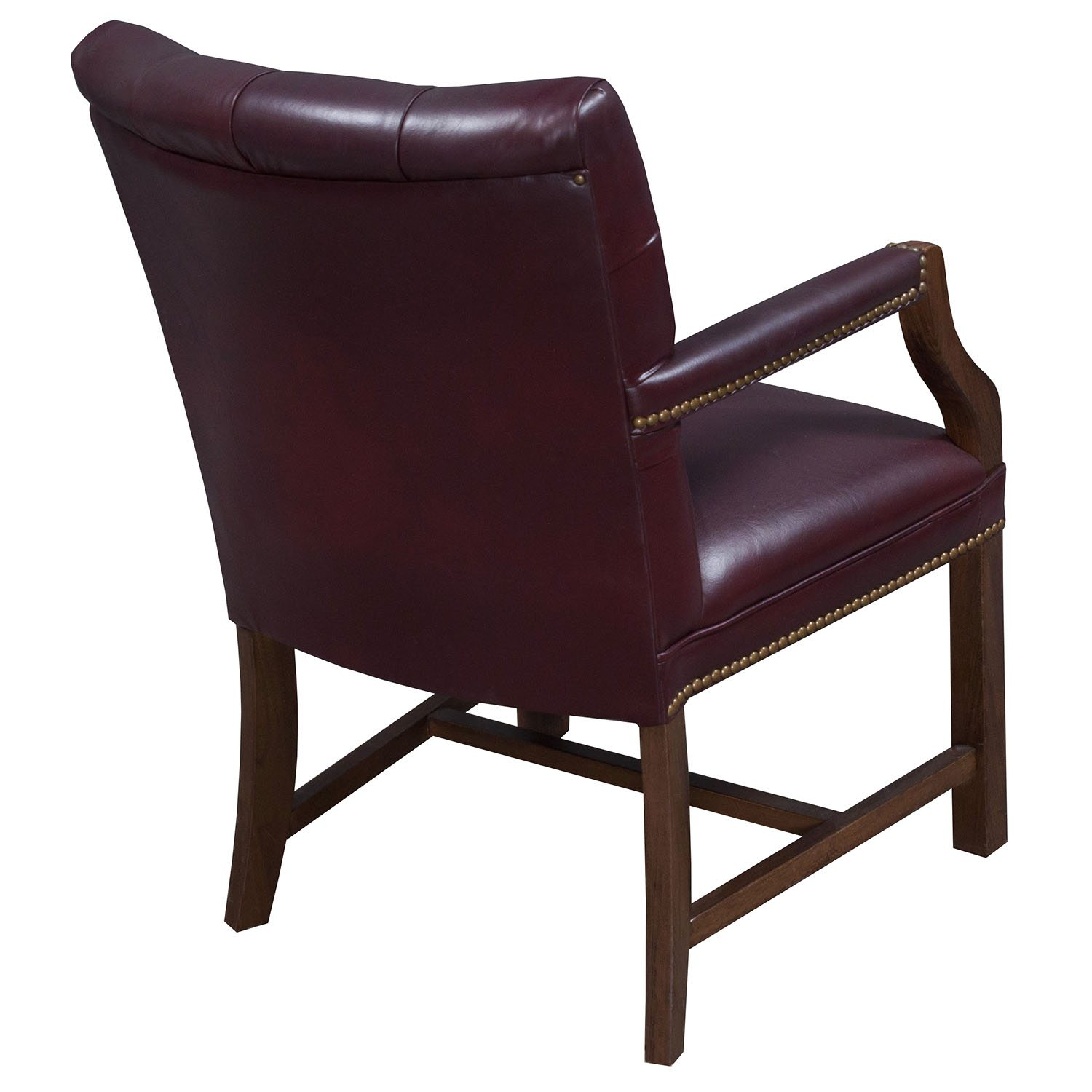 office side chairs stickley dining chair plans traditional walnut tufted leather burgundy