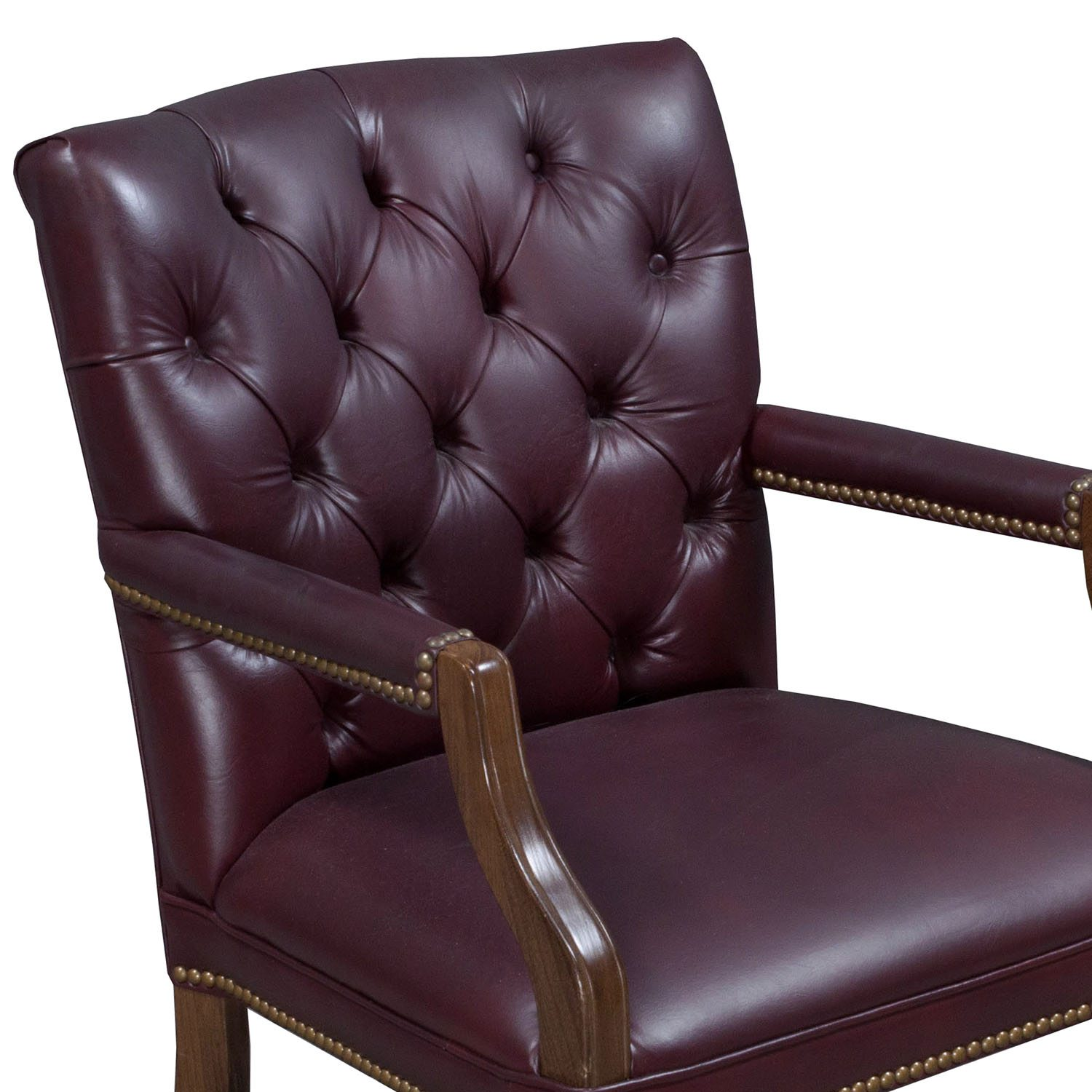 leather side chair folding lounge canada traditional walnut tufted burgundy