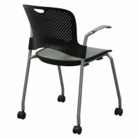 Herman Miller Caper Used Mobile Stack Chair, Black and Silver
