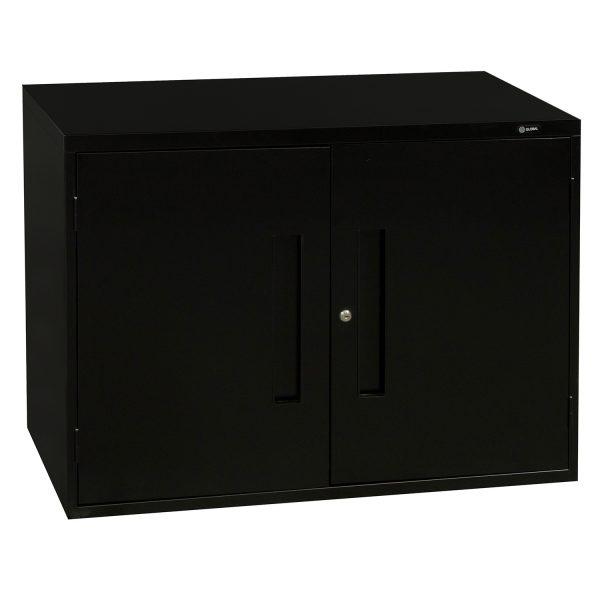 Global Used 2 Door 2 Shelf Storage Cabinet, Black