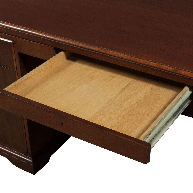 Veneer Used 36 72 Double Pedestal Desk Walnut