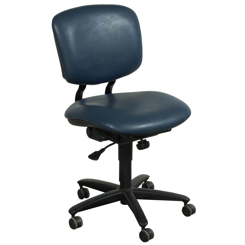 Haworth Improv Used Armless Leather Task Chair, Blue