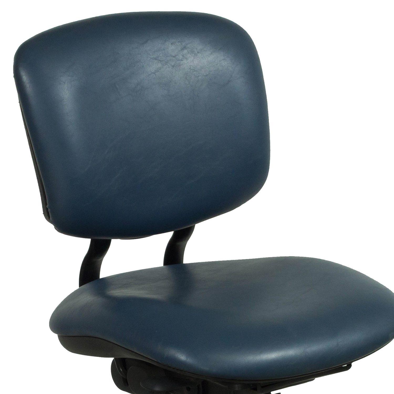 Haworth Improv Used Armless Leather Task Chair Blue