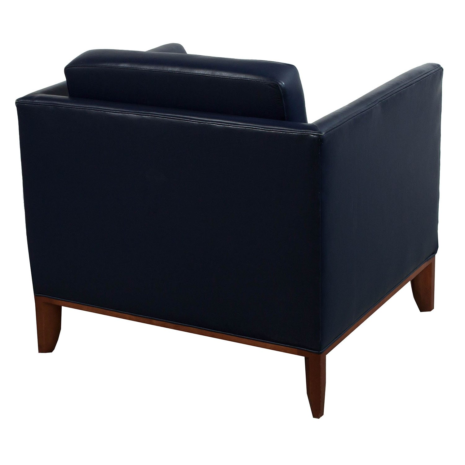 Bernhardt Used Leather Reception Chair, Blue
