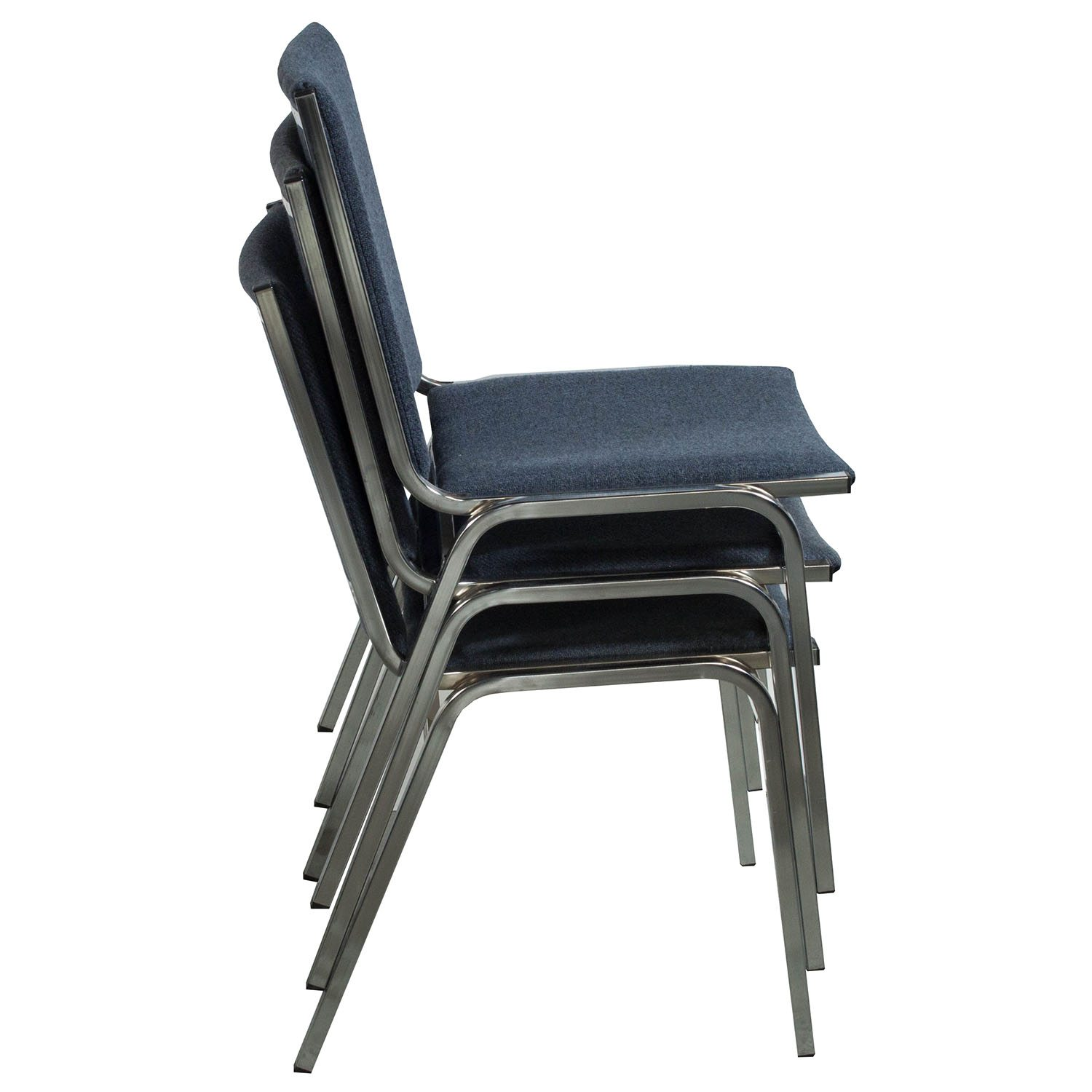 Global Used Armless Stack Chair Blue Gray Tweed
