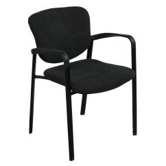 Black Side Chair Bernhardt Leather Haworth Improv Used Stackable National
