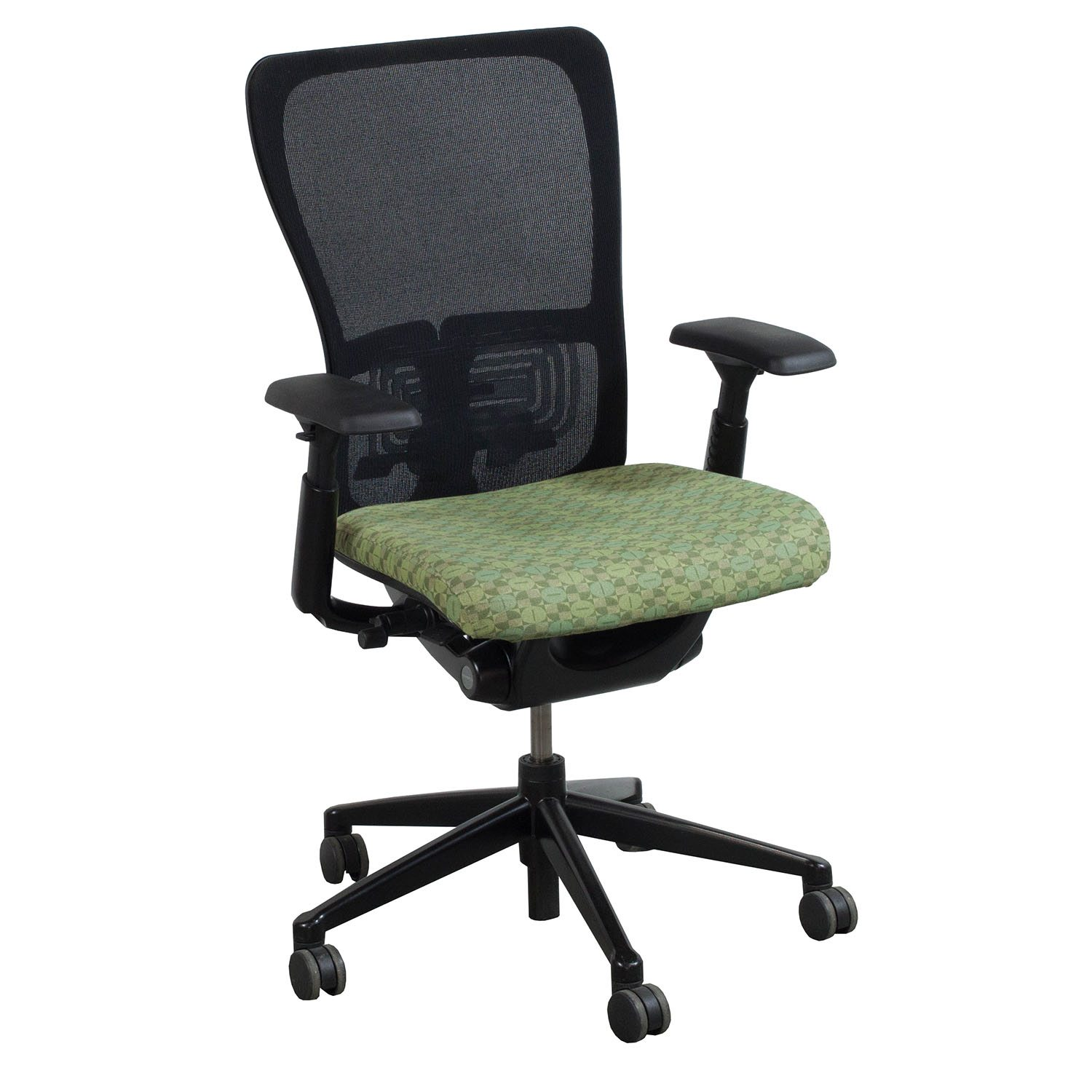 haworth zody chair antique glider used task black and green national