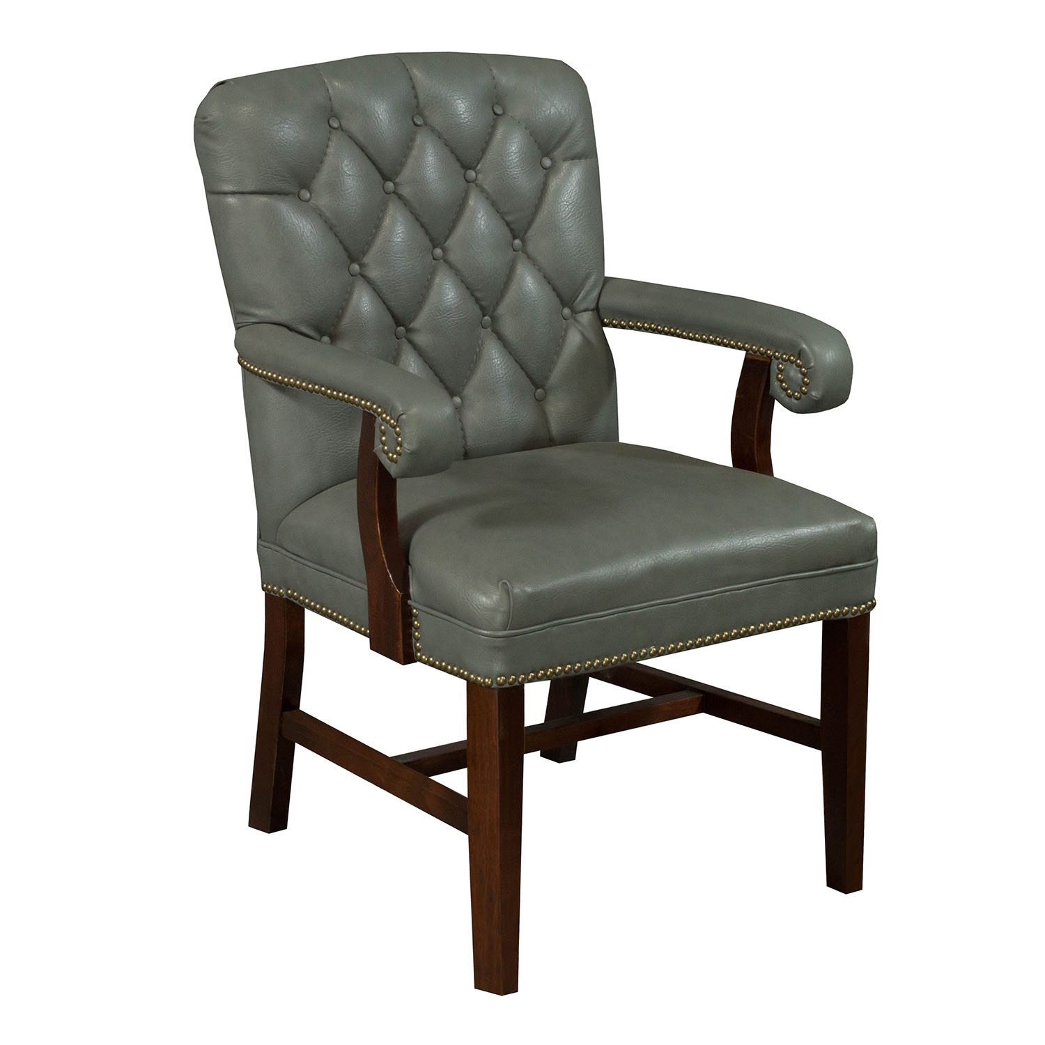 Tufted Leather Office Chair Planto Used Wood Tufted Leather Conference Chair Blue Gray