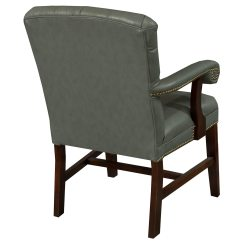 Gray Tufted Chair Ergonomic Drafting Planto Used Wood Leather Conference Blue