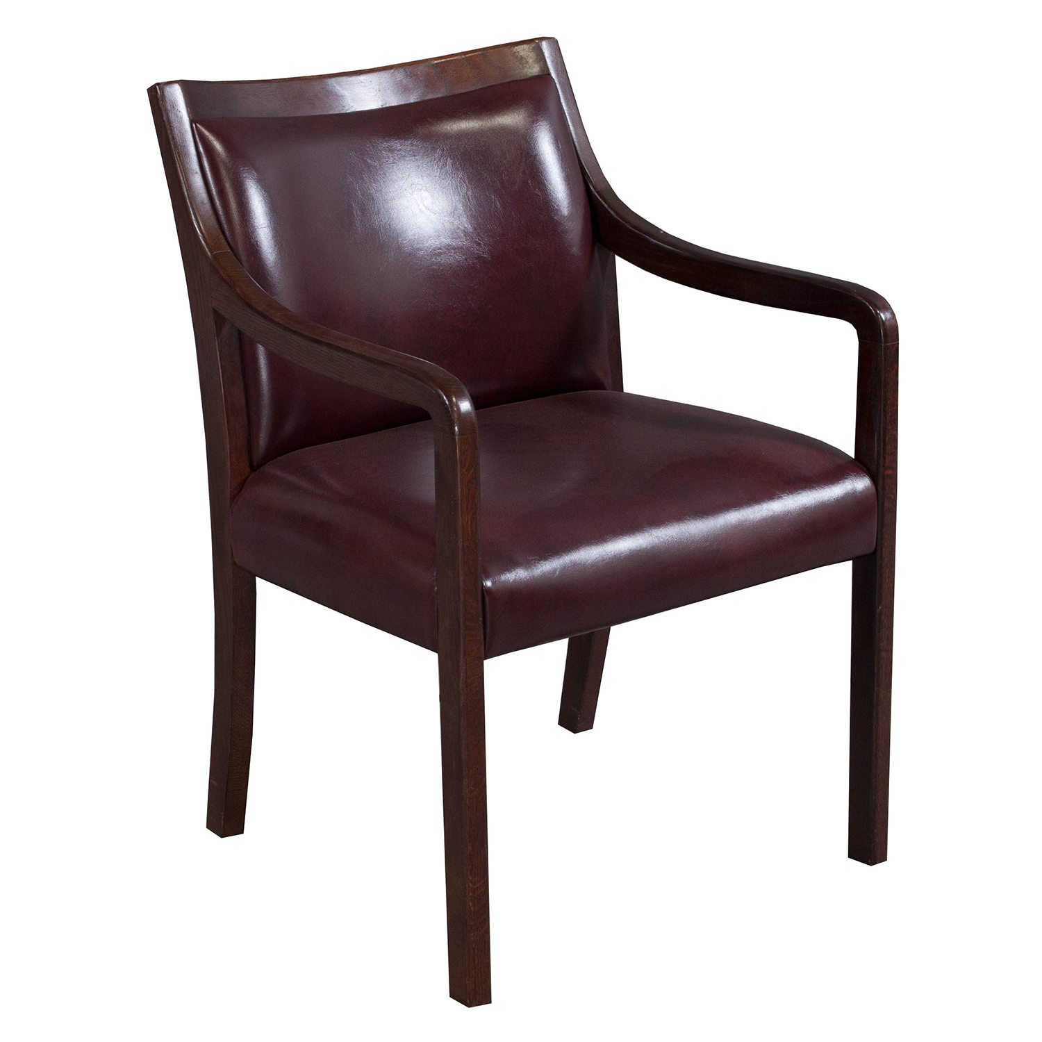 Leather Side Chair Stout Used Walnut Leather Side Chair Burgundy National