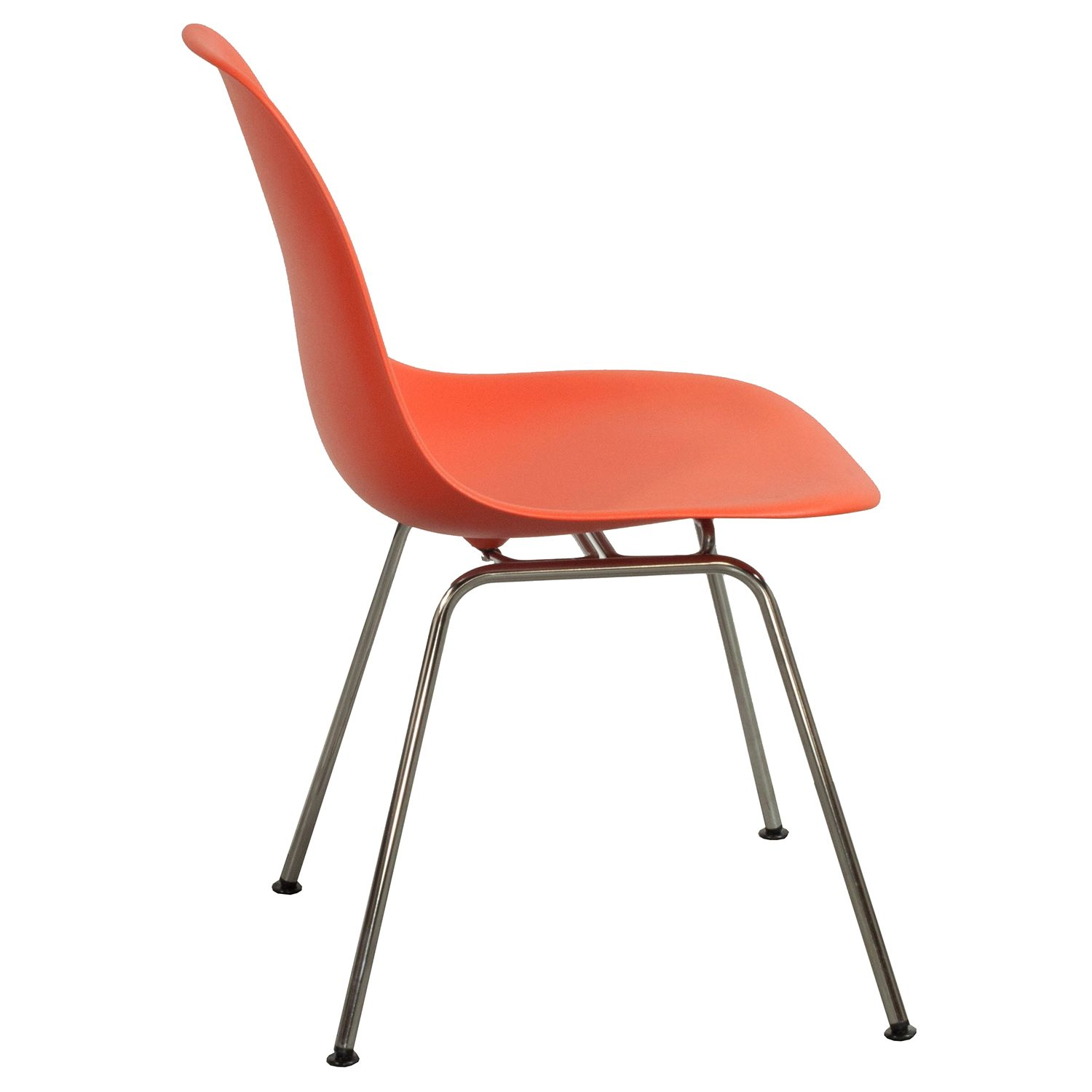 plastic molded chairs wooden stackable church herman miller eames side chair red orange