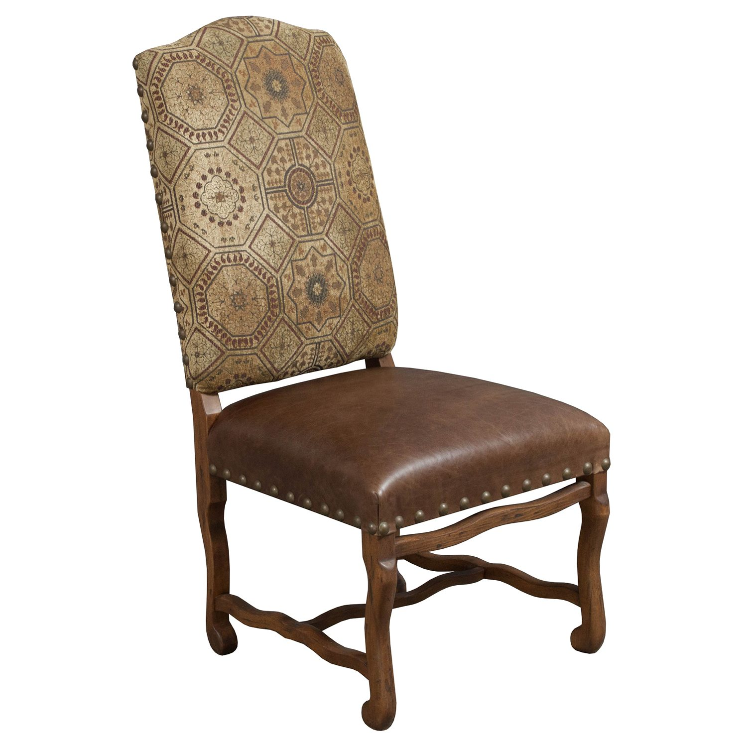 Traditional Used Leather Side Chair Armless Brown