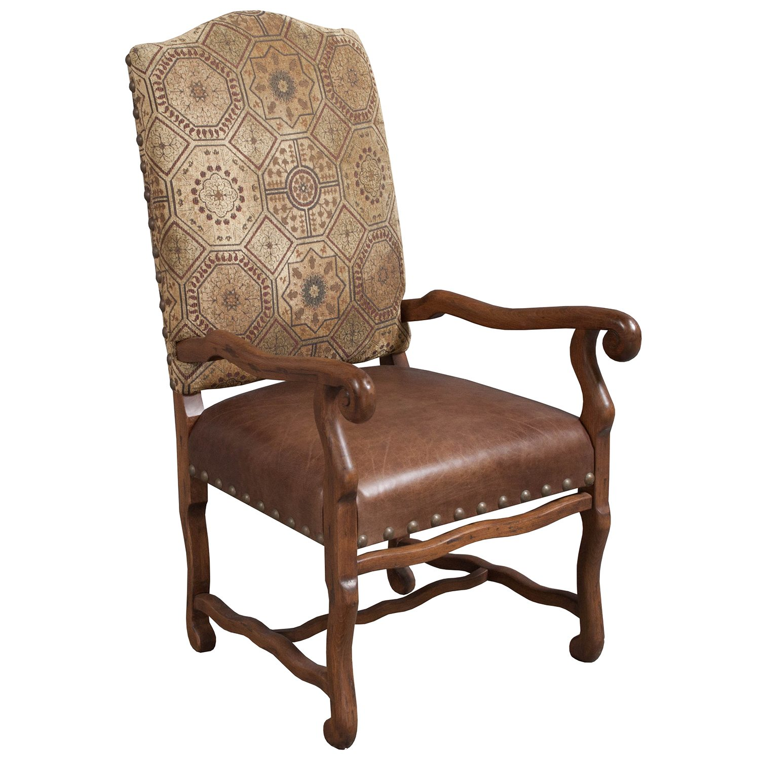 Traditional Used Leather Side Chair Brown  National