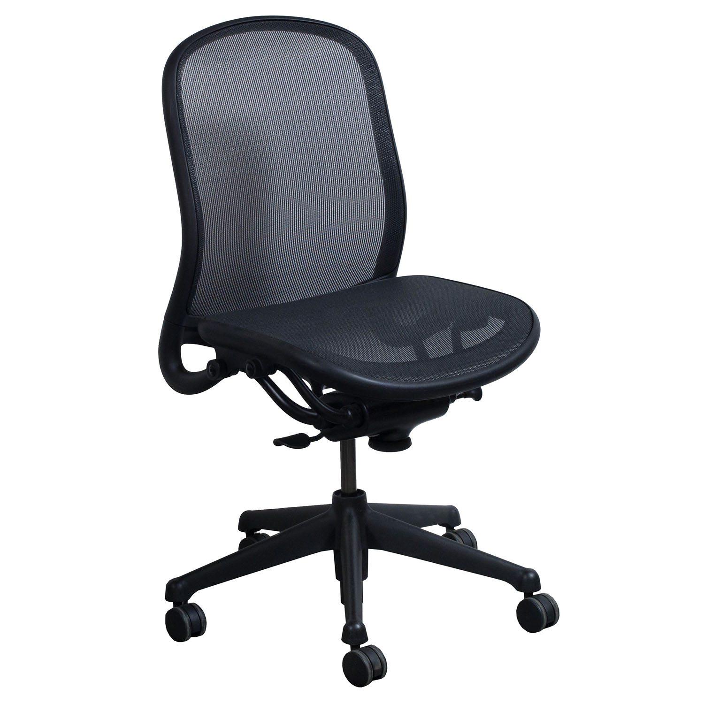 Knoll Chadwick Armless Used Task Chair, Black Mesh