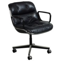 Knoll Pollock Used Leather Conference Chair, Black