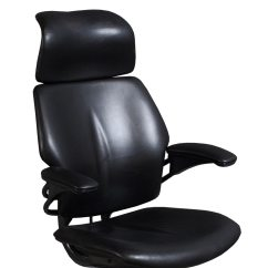 Freedom Task Chair With Headrest Bonded Leather Humanscale Used Black