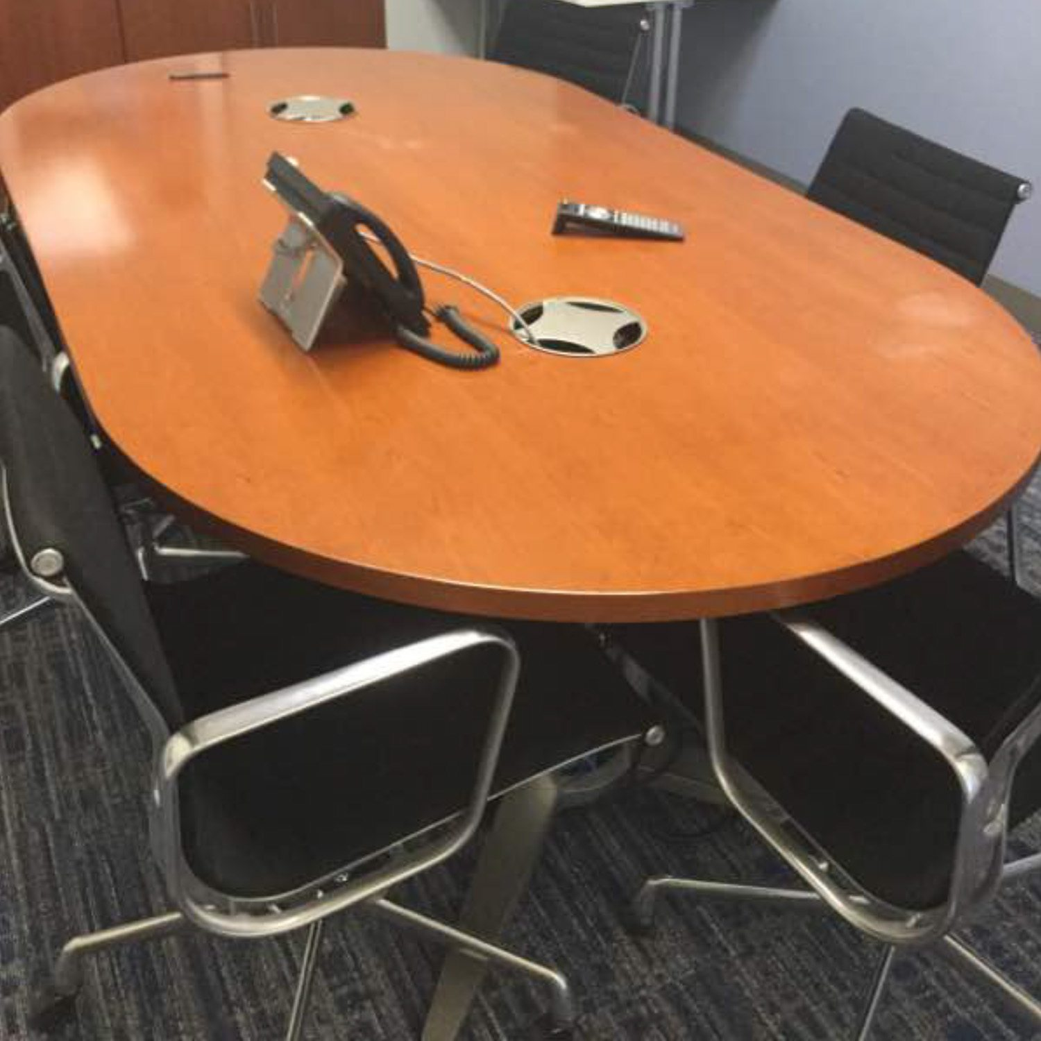 used conference table chairs armless swivel chair 7 5 foot veneer cherry national