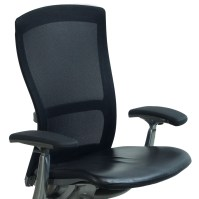 Knoll Life Used Leather and Mesh Task Chair, Black