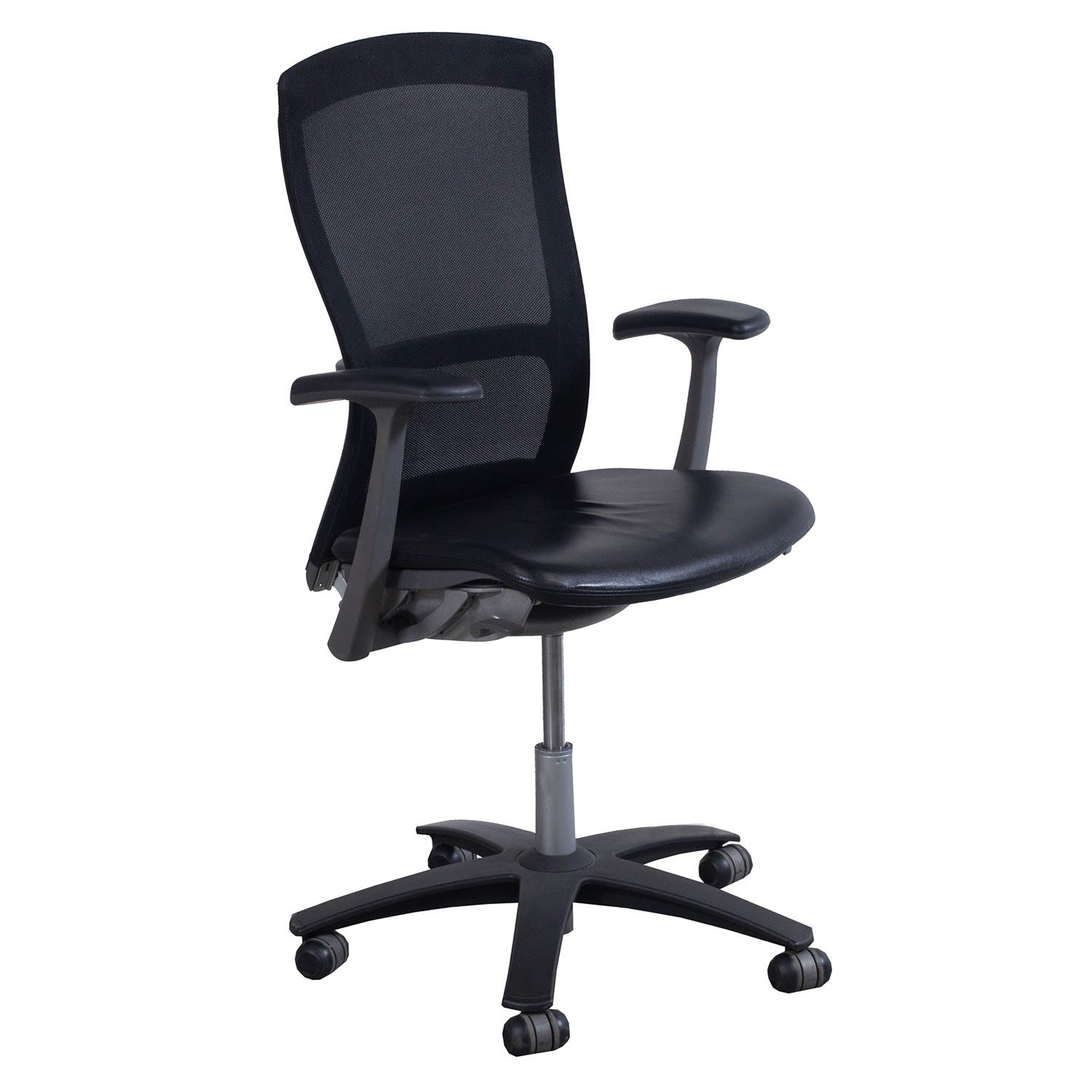 Knoll Life Used Leather and Mesh Conference Chair, Black