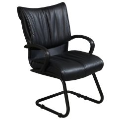 Leather Side Chair Container Store Bungee Used Reception Sled Base Black