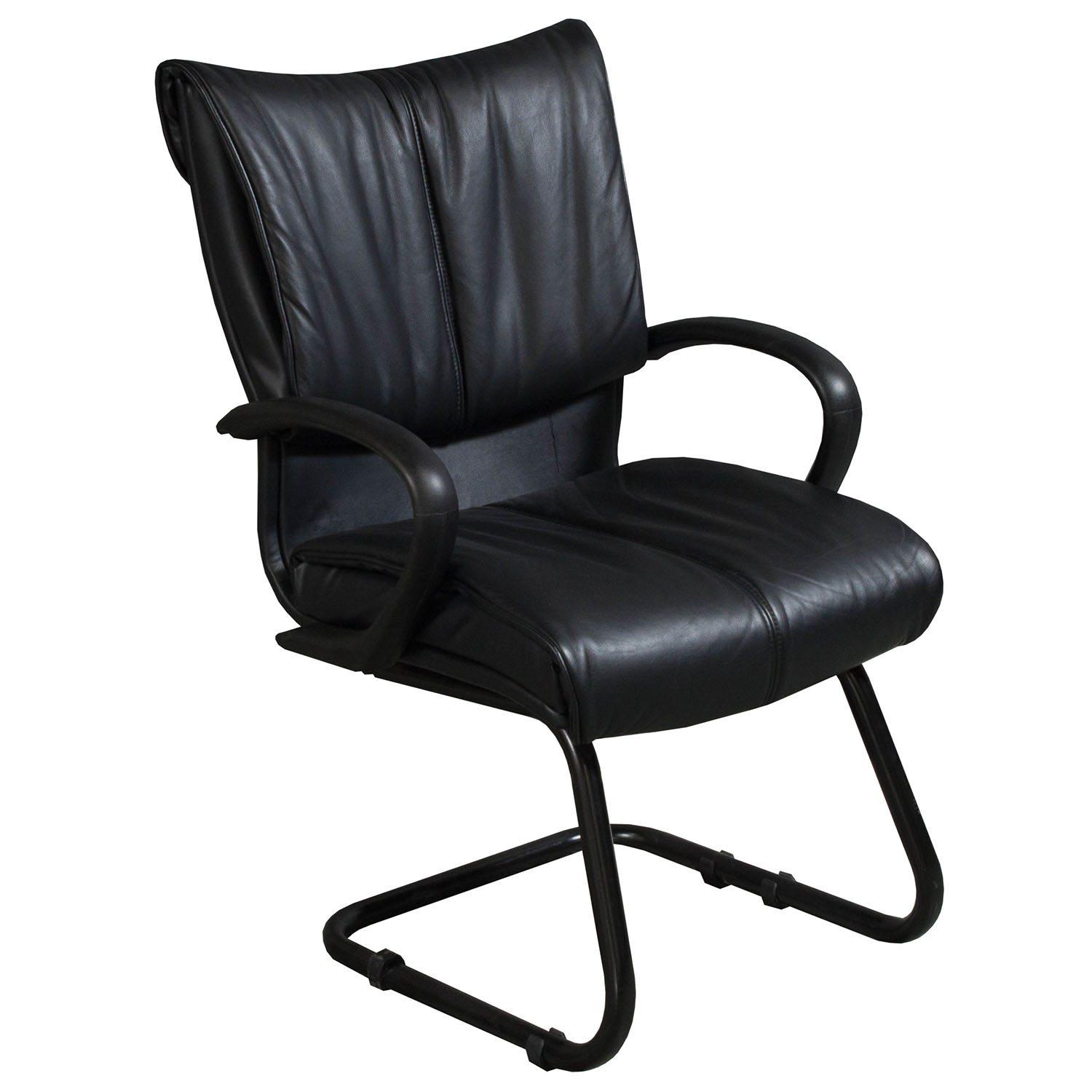 black leather reception chairs elmo pull out chair used sled base side