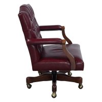 Councill Used Walnut Wood Tufted Leather Conference Chair