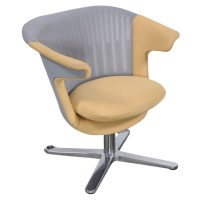 Steelcase i2i Used Gray Mesh Lounge Chair, Yellow Seat ...
