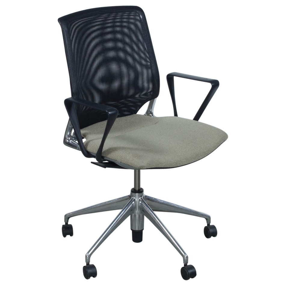 Vitra Office Chair Vitra Meda Used Black Mesh Back Conference Chair Tan