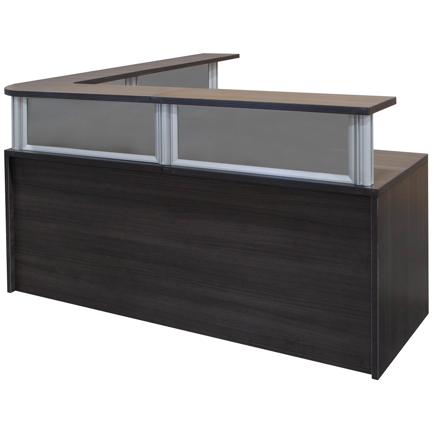0901 New 72 inch L Shape Reception Desk with Glass and Top