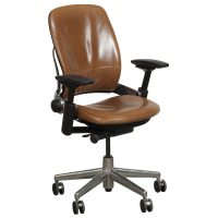 Steelcase Leap V2 Used Leather Task Chair, Brown