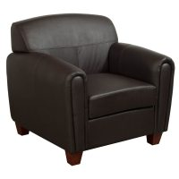 Office Star Products Used PU Leather Lounge Chair, Brown