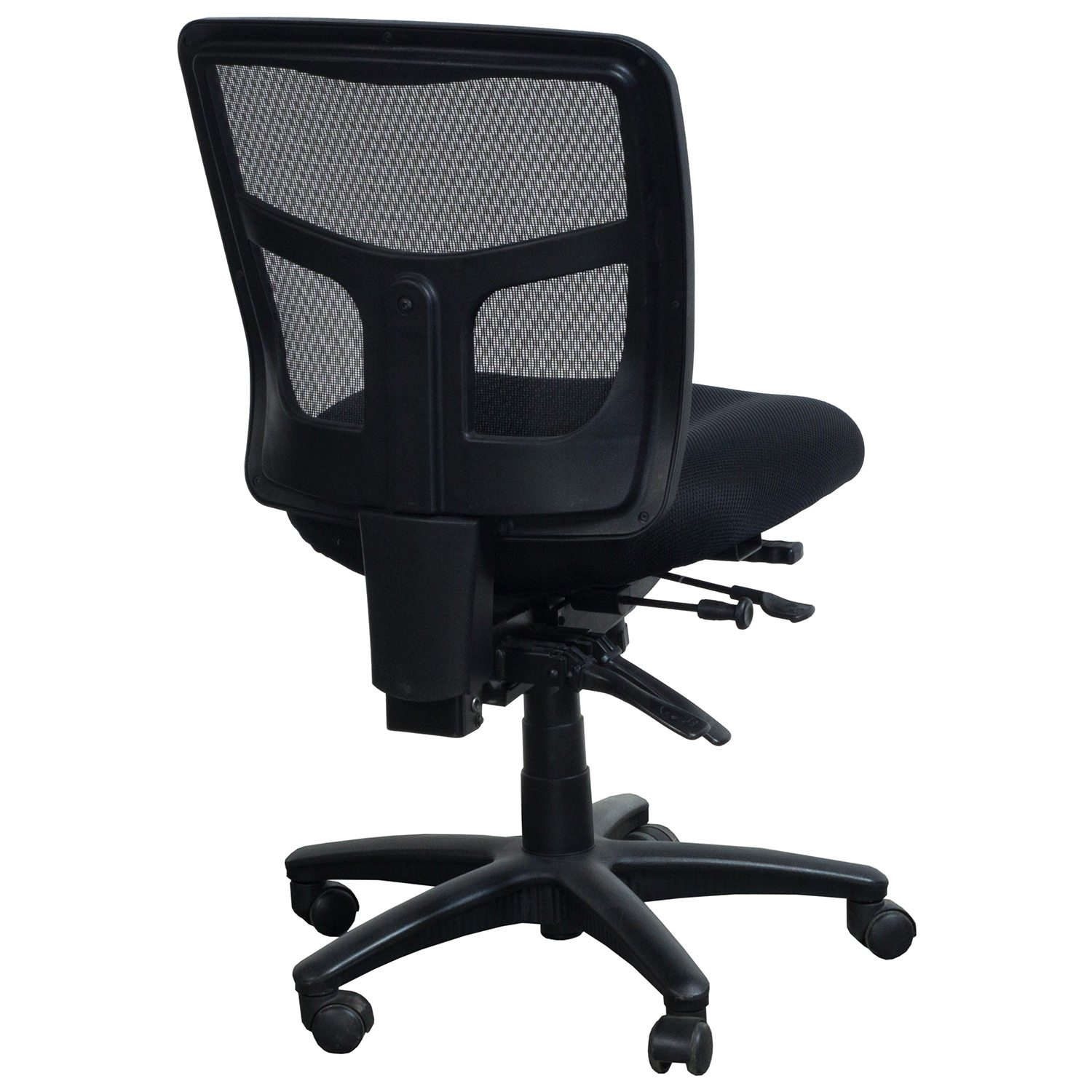 armless chair office high top table chairs kitchen star products proline ii used mesh back