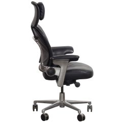 Computer Lounge Chair Seat Cover Steelcase Leap Used Leather Black National