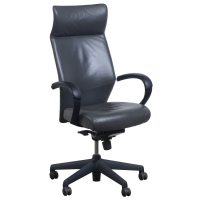 Keilhauer Tom Used Leather High Back Executive Chair, Gray ...
