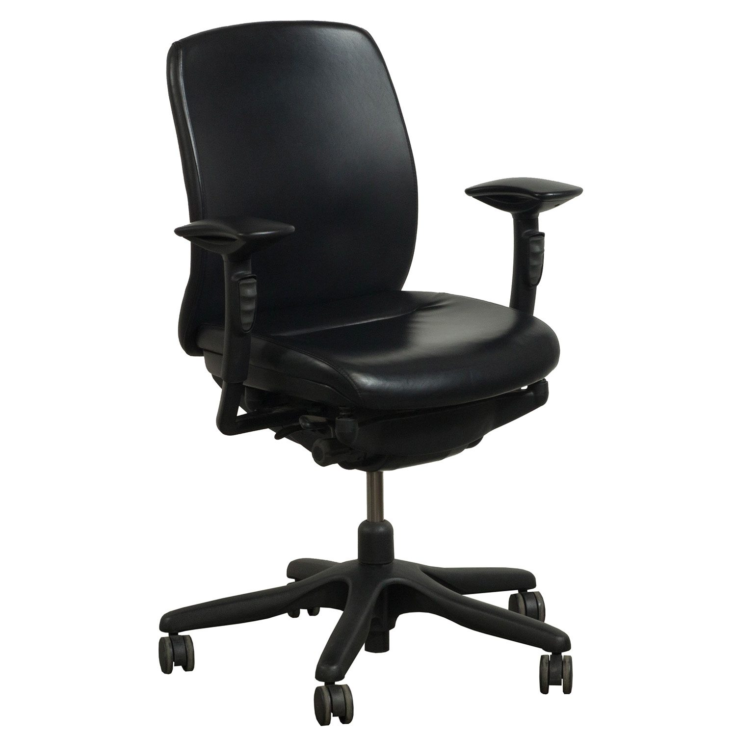 Teknion Amicus Synchro Used PU Leather Task Chair, Black