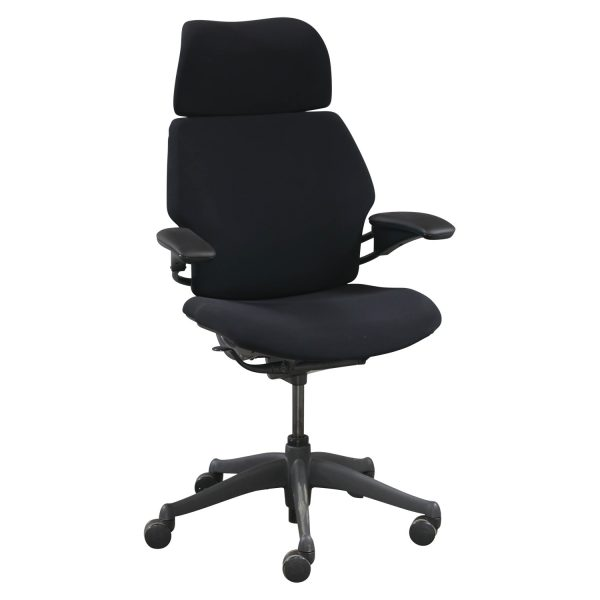 freedom task chair with headrest osaki os 3d pro cyber massage humanscale used high back w black