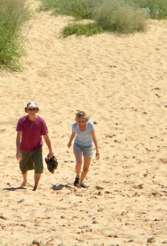 Walking up the dunes