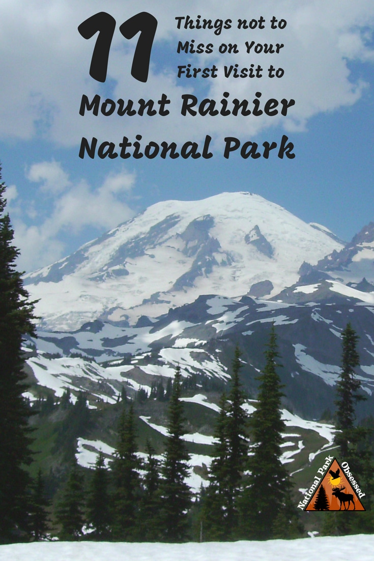 Planning your first visit to Mount Rainier? Here are 11 things not to miss on your first visit to Mount Rainier National Park. Includes waterfalls, wildflowers, hiking, and glaciers.  