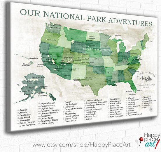 Epic US National Park Wall Maps to help you keep track of your ...