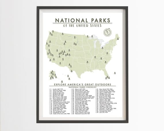 picture relating to Printable National Park Checklist called Epic US Countrywide Park Wall Maps in the direction of assistance oneself retain monitor of